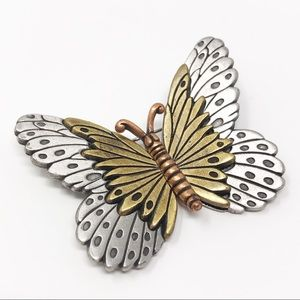 Vintage L Razza Mixed Metal Butterfly Brooch Pin